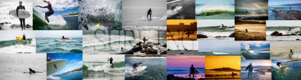 Collage of surfing photos