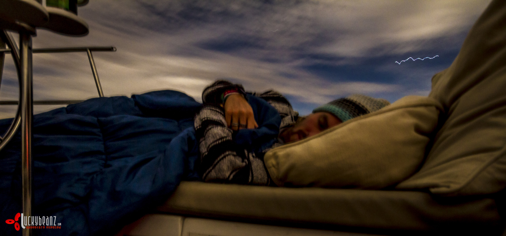 Sleeping outside under the eclipsing moon.