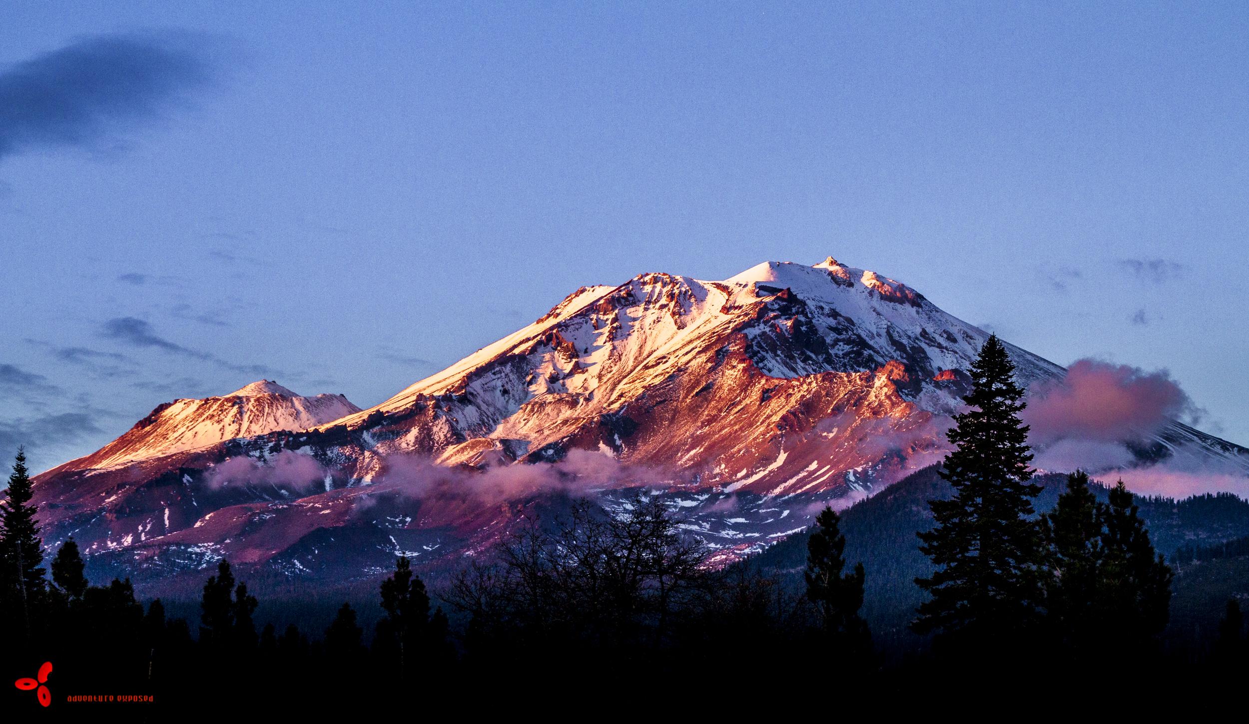 Snowy peaks.