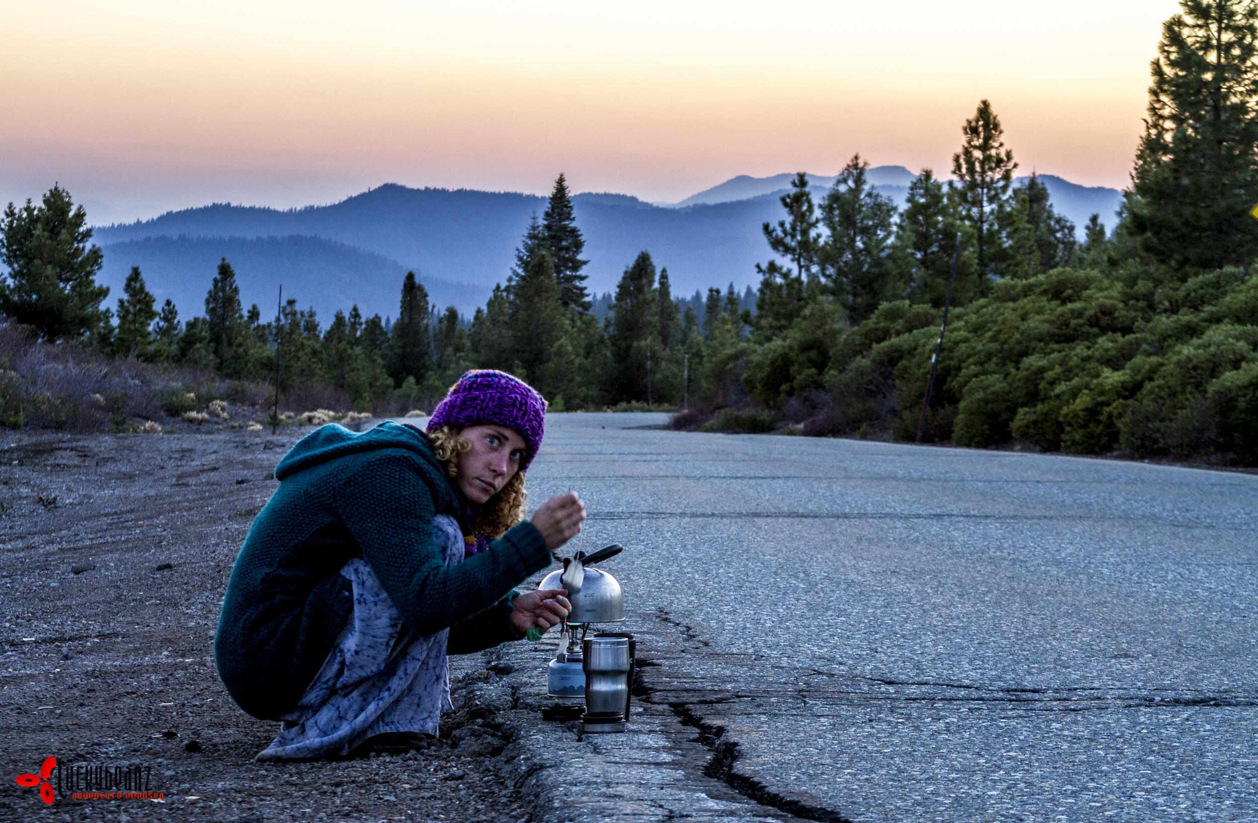 Making tea on the road.