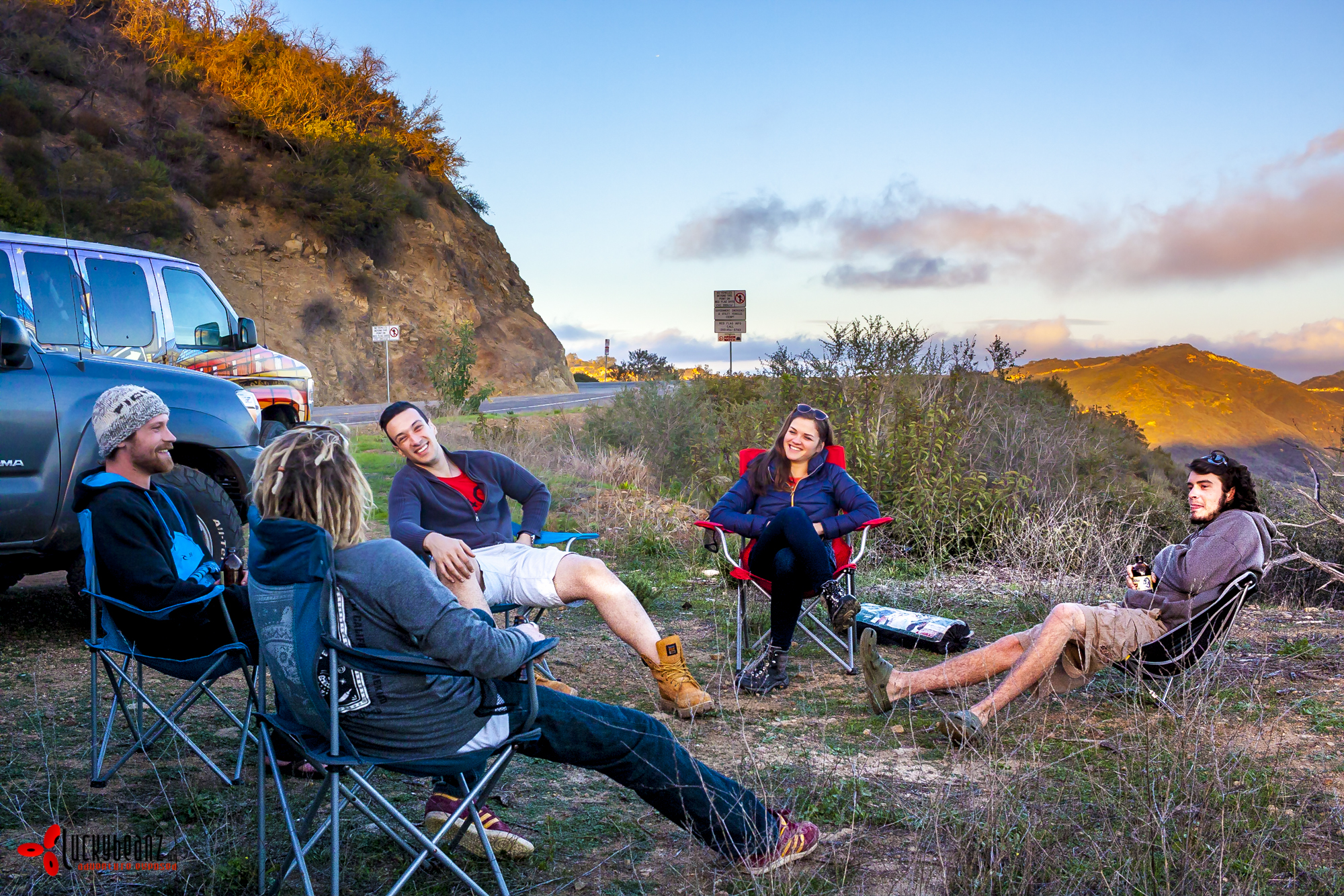 Camping in the Malibu Hills... We got moved on pretty quickly.